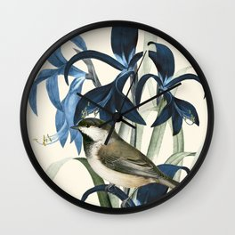 Little Bird and Flowers II Wall Clock