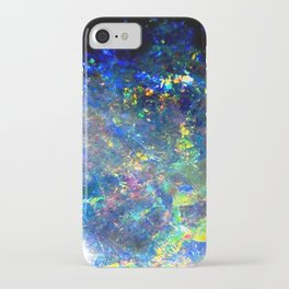 Galaxy space opal iridescent holographic druse crystal quartz agate gemstone geode mineral photo iPhone Case