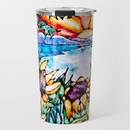 Summer Sunflowers - Stained Glass Watercolor Travel Mug
