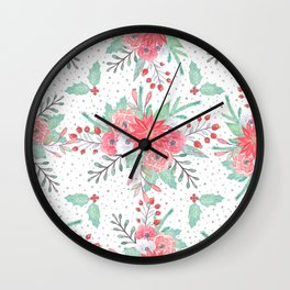 Pretty watercolor Christmas floral and dots design Wall Clock