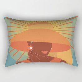 Colorful Audrey Hepburn with big hat Rectangular Pillow