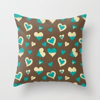 baloon Throw Pillows featuring Baloon Heart by GrapeDiva