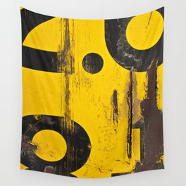 black numbers on yellow background Wall Tapestry