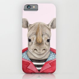 R is for a Rhino in a Red Raincoat   Watercolor Rhino iPhone Case