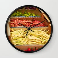 vegetables Wall Clocks featuring Vegetables by Toni-Ann Langella