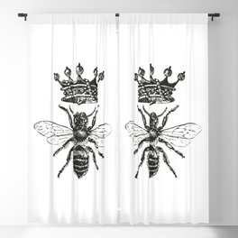 Queen Bee | Black and White Blackout Curtain