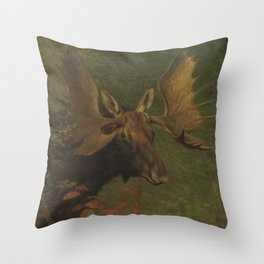 Vintage Painting of a Bull Moose Throw Pillow