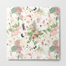 Vintage & Shabby Chic - Botanical Flower Roses Garden Metal Print