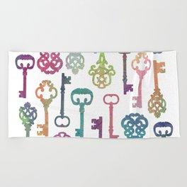 Rainbow Keys on White Beach Towel