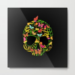 Scull Flower Metal Print