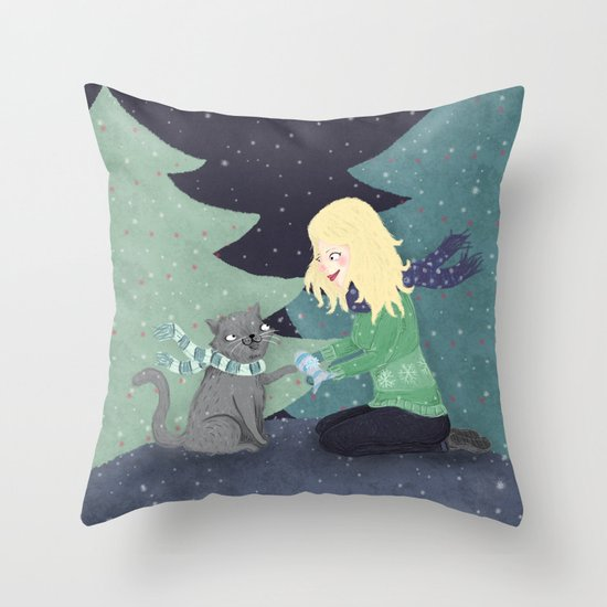 Giving Gifts at Christmas Throw Pillow
