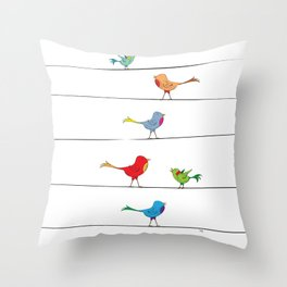 [ birds on wire ] Throw Pillow
