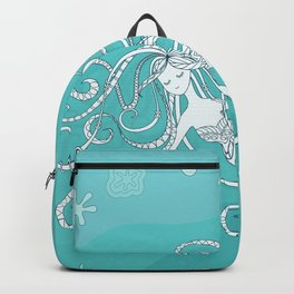 mermaid in blue water Backpack