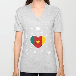 Cameroon  love flag heart designs  Unisex V-Neck