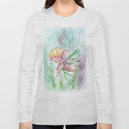 Starfish Watercolor Art Illustration Long Sleeve T-shirt