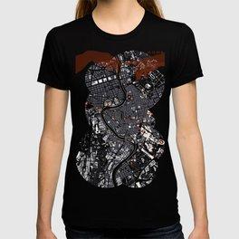 Rome city map engraving T-shirt