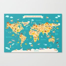Animal map for kid. World vector poster Canvas Print