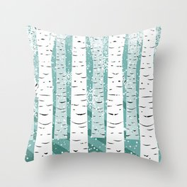 birch tree background snow Throw Pillow