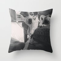 great dane Throw Pillows featuring Great Dane by aubreyplays