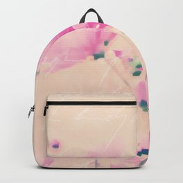 Pastel Pink Flowers mixed media art Backpack