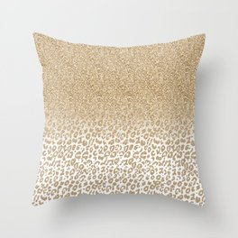 Trendy Gold Glitter and Leopard Print Gradient Design Throw Pillow