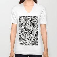 maori V-neck T-shirts featuring Maori tribal design by Noah's ART