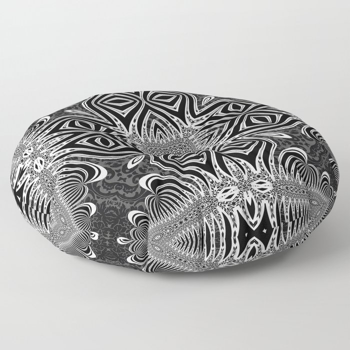 Black & White Tribal Symmetry Floor Pillow