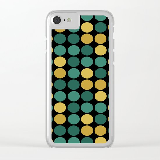 Yellow green polka dots on a black background . Clear iPhone Case