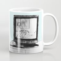 tv Mugs featuring Television by Brontosaurus