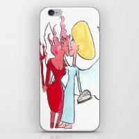 lesbian iPhone & iPod Skins featuring Angel/devil lesbian kiss by Nehalennia