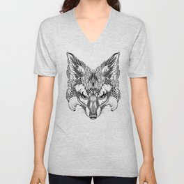 FOX head. psychedelic / zentangle style Unisex V-Neck