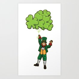 Leprechaun With Cloverleaf Balloons - Irish Fly Art Print
