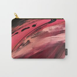 Entangled [2]: a vibrant, colorful abstract mixed-media piece in reds, pinks, black and white Carry-All Pouch