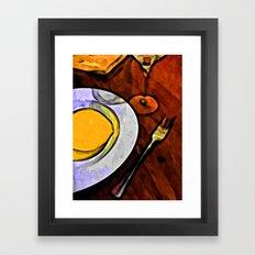 Gold Lemon and Fork Framed Art Print