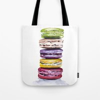 macarons Tote Bags featuring Macarons by Bridget Davidson