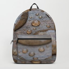 Water Drops on Wood 2 Backpack