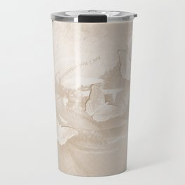 Fabulous butterflies and wattle with textured chevron pattern in subtle iced coffee Travel Mug