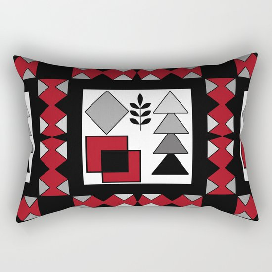 Ethnic pattern in red-black-white colors Rectangular Pillow