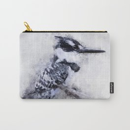 Pied Kingfisher Bird Print Watercolour A4, Animal Poster Print, Birds Digital Prints, Poster Print, Carry-All Pouch