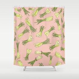 Lemongrass in Pink Shower Curtain