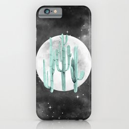 Cactus Nights Full Moon Starry Sky Sage by Nature Magick iPhone Case