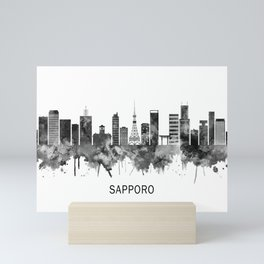 Sapporo Japan Skyline BW Mini Art Print