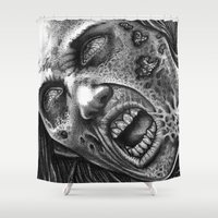 meat Shower Curtains featuring Dead Meat by Bungle