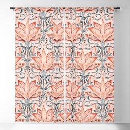 Coral and Grey Watercolor Art Nouveau Aloe Blackout Curtain