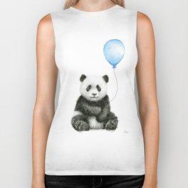 Panda Baby Animal with Blue Balloon Biker Tank