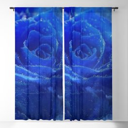 Blue Rose and Sky Blackout Curtain