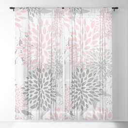 Festive, Floral Prints, Leaves and Blooms, Pink, Gray and White Sheer Curtain
