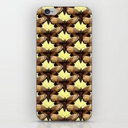 Brown Moths On Pastel Yellow iPhone Skin