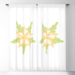 Yellow Star Shape Flower Illustration Blackout Curtain
