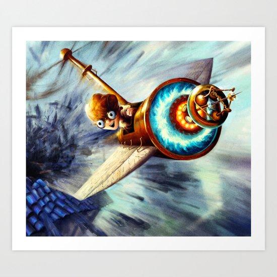 Boy Flying Away in a Plane Art Print